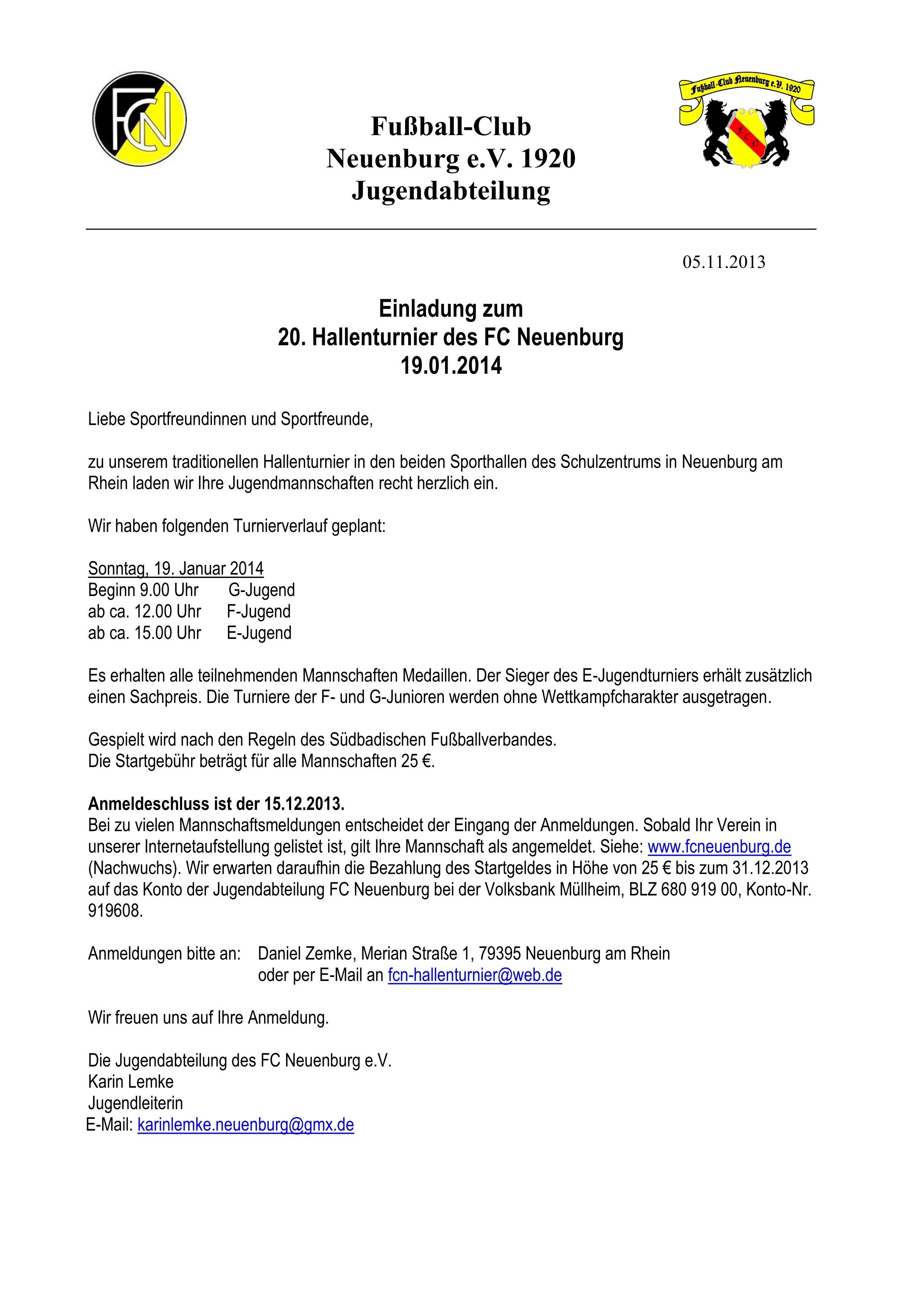 einladung hallenturnier 2014 | fc neuenburg 1920 e.v., Einladung