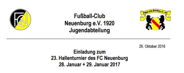 23. hallenturnier des fc neuenburg | fc neuenburg 1920 e.v., Einladung